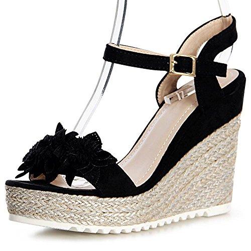 topschuhe24 - Sandalias de vestir de tela para mujer negro