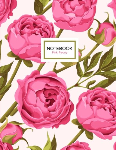 Pink Peony Notebook: Peonies Flowers Notebook, 8.5 x 11
