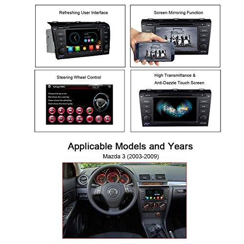 7 Inch Car Stereo Radio GPS Navigation System DVD Player Double Din in Dash  HD Touch Screen Head Unit for Mazda 3 2004 2005 2006 2007 2008 2009