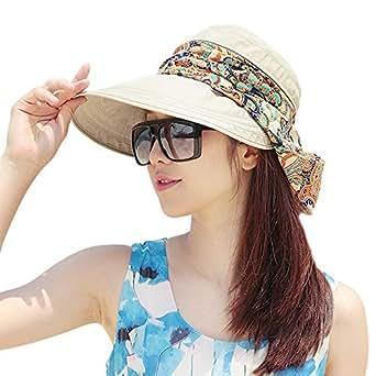 ABLE Casual UV Protection Cap Sun Visor Lightweight Visor Wide Brim Summer Golf Sun HatWomens Visor Hats Wide Brim Cap Anti-UV Summer Sun Hats (1-Beige)