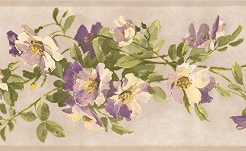 - Yellow Beige Purple Flowers on Vine Ivory Wallpaper Border Retro Design, Roll 15' x 7