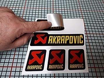 Pegatina Adhesivo Sticker ADESIVO AUFKLEBER Decals AUTOCOLLANTS Compatible con AKRAPOVIC Tubo Escape Aluminio Alta Temperatura + 180 º Vinilo Laminado Moto Coche Ref 2