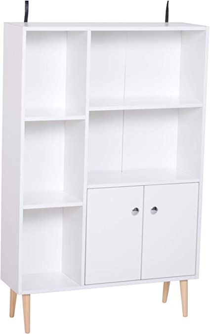HOMCOM Estantería para Libros Librería de Madera 5 Estantes 2 Puertas Biblioteca Organizador para Hogar y Oficina 80x23,5x123cm