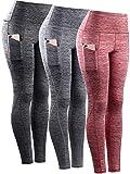 Neleus Tummy Control High Waist Workout Running Leggings for Women,9033,Yoga Pant 3 Pack,Black,Grey,Red,S,EU M