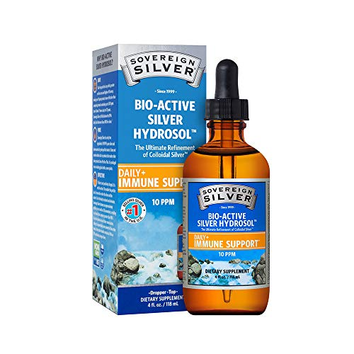 Sovereign Silver Bio-Active Silver Hydrosol for Immune Support – 10 ppm, 4oz (118mL) – Dropper