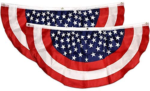 Gift Boutique Patriotic Bunting Banner 2 Pack American Flag Stars and Stripes USA July 4 Red White & Blue 48