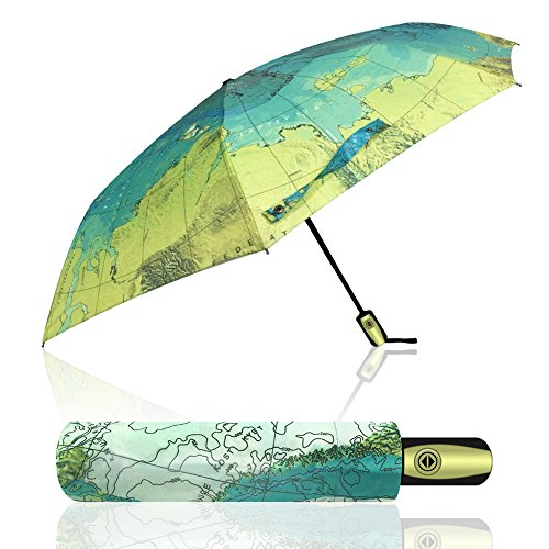 econoLED Compact World Map Travel Umbrella - Windproof, Reinforced Canopy, Ergonomic Handle, Auto Open Close Won't Break If Inverted, Durability Tested 5000 - Globe Compact