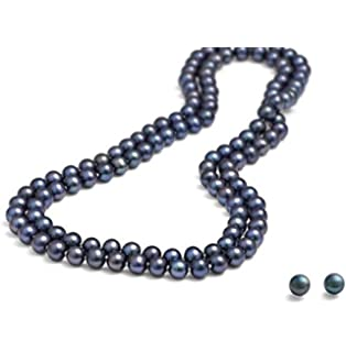 Long rope 8-9mm Round Natural Grey Freshwater Pearl Necklace length 120cm