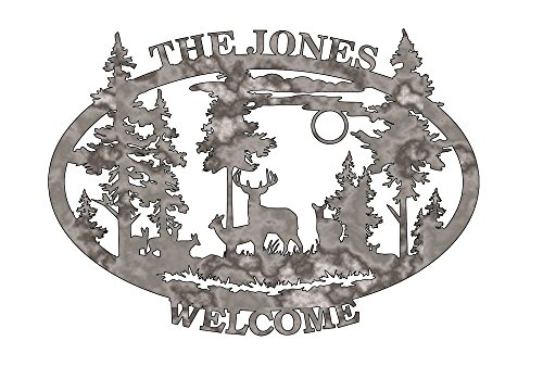 Deer Welcome Sign Personalized - Plasma Cut Metal Shape MONO77-M ()