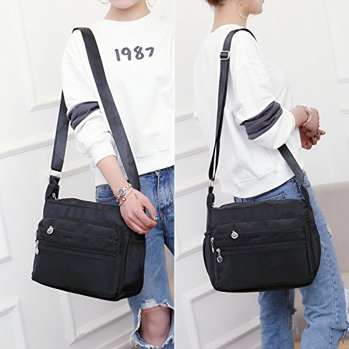 NOTAG Crossbody Bag for Women Waterproof Shoulder Bag with Adjustable Strap Lightweight Messenger Bag Casual Canvas Purse Handbag with Multi-Pocket for All-Purpose Use,2 Size (Large, Black) by NOTAG (Image #6)