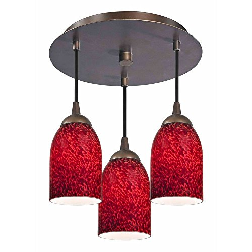 3-Light Semi-Flush Ceiling Light with Red Glass – Bronze Finish