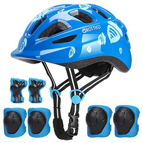 Toddler-Kids Ultralight Helmet with Knee-Elbow-Wrist-Pads – Acorn Pattern Adjustable for 2-10 Years Old Boys Girls Bike…