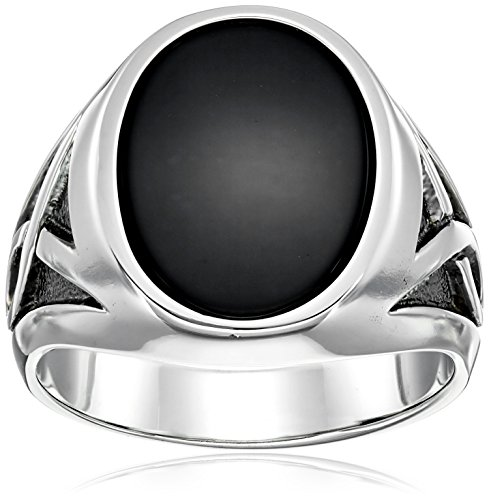 Men's Solid Sterling Silver Onyx Ring with Black Rhodium Infinity Detail Ring, Size 11 by Amazon Collection
