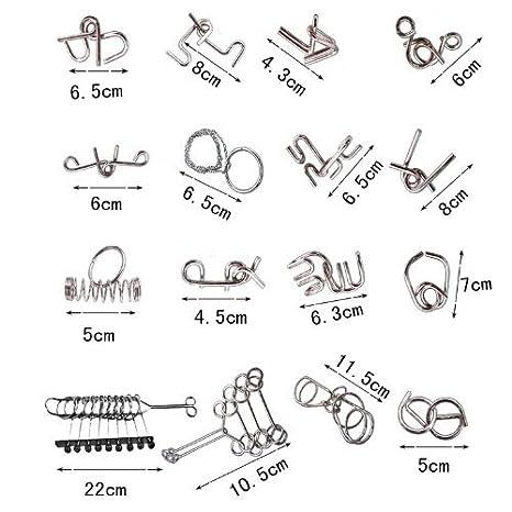 Articoli per giochi di magia japan import 16 sets Chinese ring puzzle ring steel intellectual puzzle three-dimensional puzzle game magic trick toy Anelli cinesi