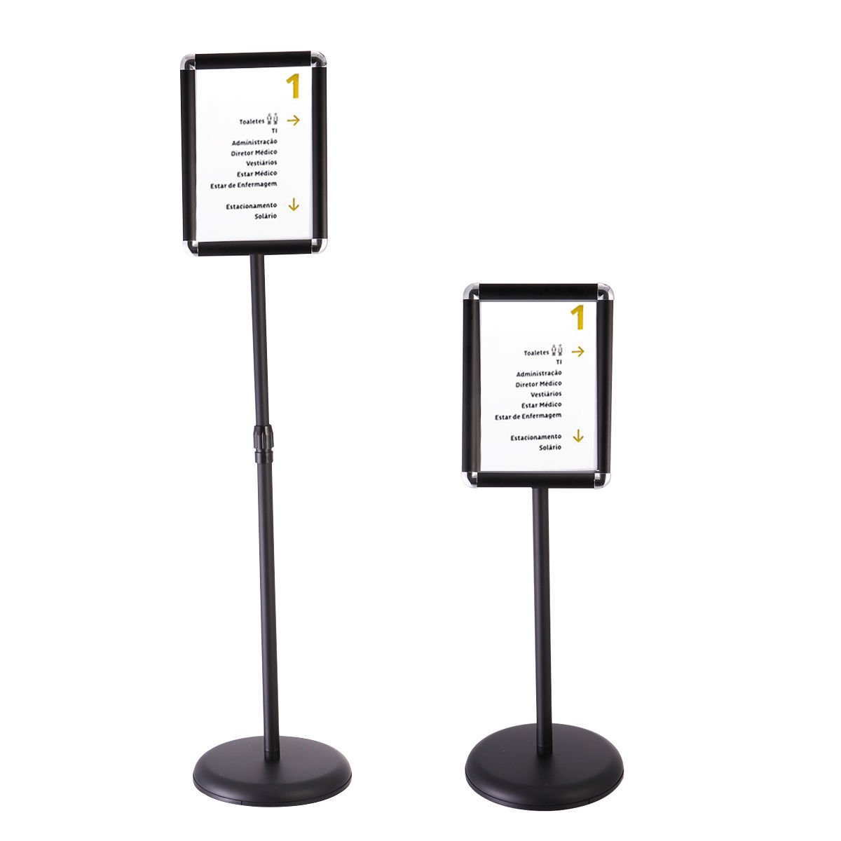 A4 Pedestal Sign Holder Floor Stand Adjustable with Telescoping Post Black