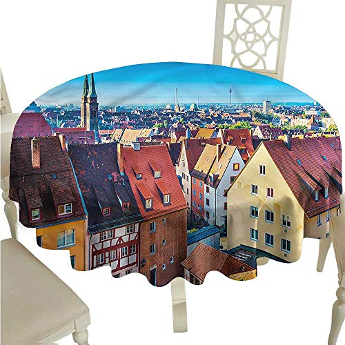 ScottDecor Christmas Tablecloth City,German Town Nuremberg Skyline Circular Table Cover Round Tablecloth D 54