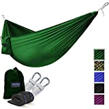 Yes4All Lightweight Double Camping Hammock with Strap & Carry Bag – Nylon Parachute Hammock / Lightweight Portable Hammock for Camping, Hiking (Green)