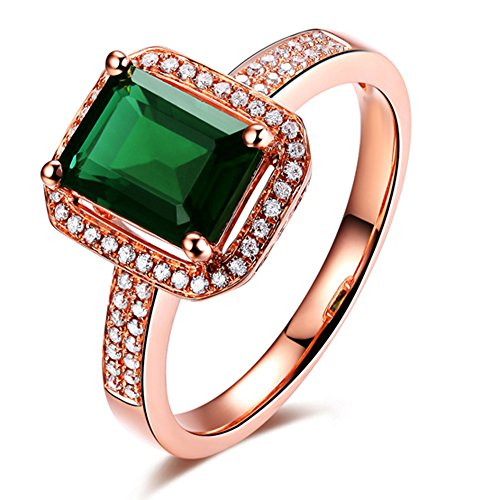 Solid 14K Rose Gold Natural Green Tourmaline English Victorian Diamond Ring Finger Sizes 4 to 13 by Kardy