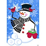 Zebra Scarf Snowman – 28 Inch X 40 Inch Large Decorative Flag For Sale