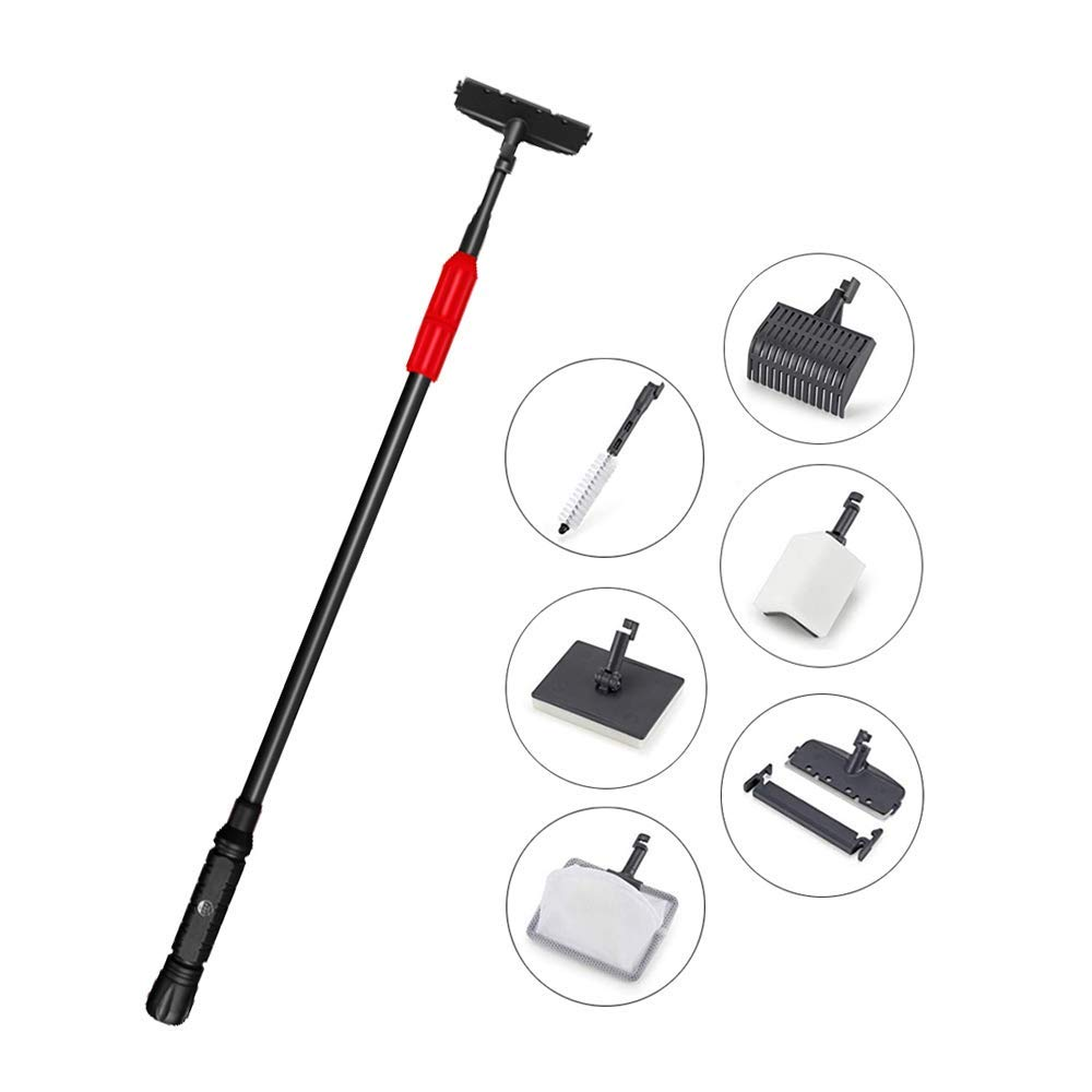 Upettools Cleaning Tools, 6 In 1 Aquarium Cleaning Kit Adjustable Long Handle Fish Tank Cleaning Set