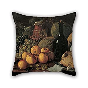 Pillow Cases Of Oil Painting Luis Mel??ndez - Still Life With Apples, Grapes, Melons, Bread, Jug And Bottle For Gf Bar Saloon Outdoor Coffee House Dining Room 18 X 18 Inches / 45 By 45 Cm(2 Sides)