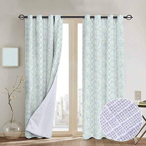 NUOMANAN Blackout Curtains for Bedroom Vintage,Lace Pattern Backdrop with Floral Composition Victorian Inspirations Wedding,Seafoam White,Darkening Grommet Window Curtain-1 Pair 100