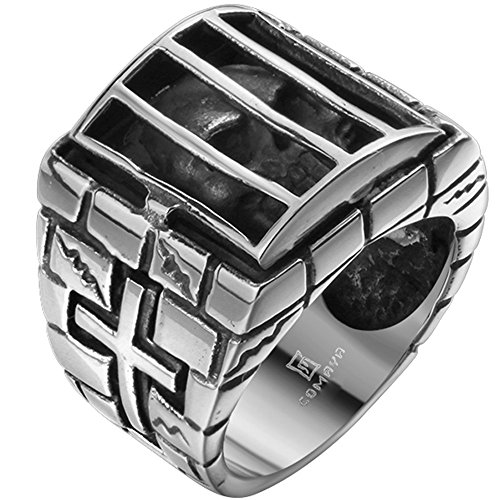Mens Stainless Steel Cage Alien Skull Cross Ring Band Large Vintage Fashion Gothic Biker Silver Black