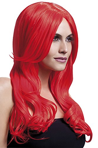 Fever Women's Neon Red Long Wavy Wig with Centre Part, 26inch, One Size ()