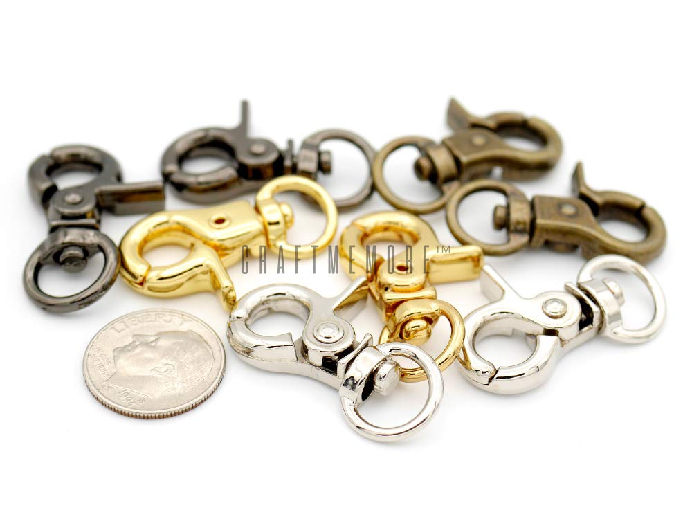 CRAFTMEmore 1-1//4 Tiny Swivel Trigger Snap Hooks Landyard Clip Purse Lobster Clasp Pack of 10 Silver