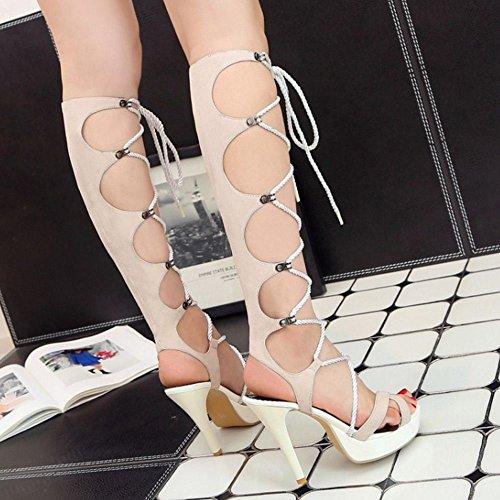Lungo Beige Sandali Mode Zanpa Tacco Donna xWZnOwx7I