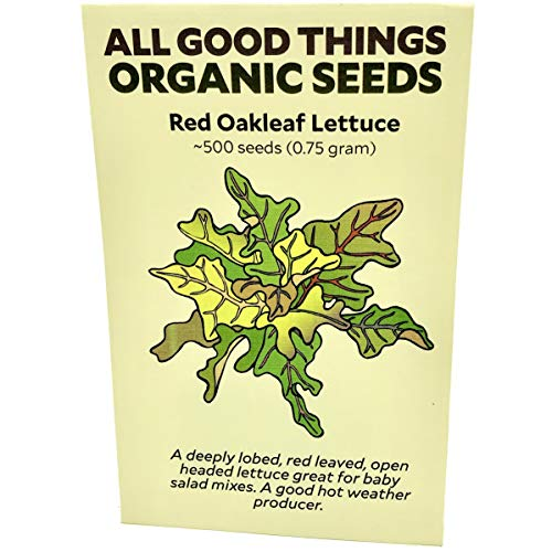 (Red Oak Leaf Lettuce Seeds (~500): Certified Organic, Non-GMO, Heirloom, Open Pollinated Seeds from The United States)