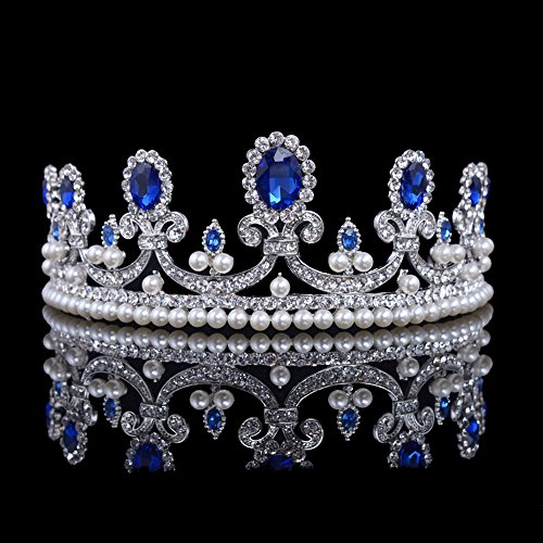 SSNUOY Royal Queen Pageant Crown Bridal Tiara for Women Rhinestone Pearl Headband Birthday Party Jewelry -
