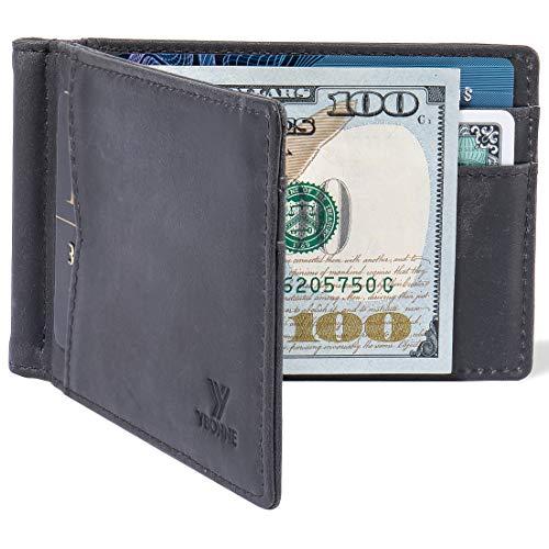 YBONNE RFID Blocking Minimalist Slim Bifold Mens Wallet with Money Clip, Premium Durable Thin Front Pocket Card Holder, Made of Finest Plain-Waxy Genuine Leather