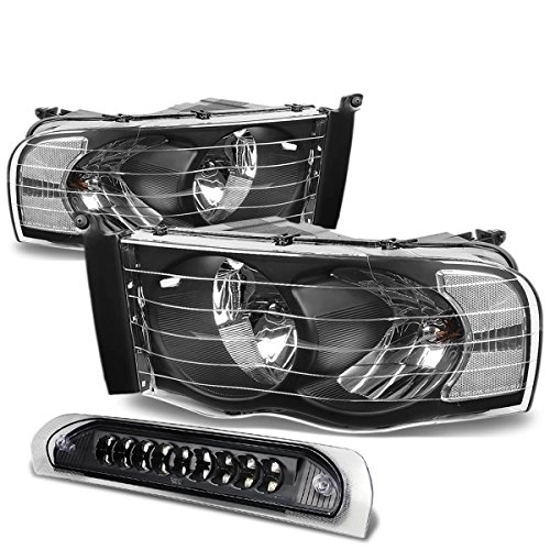 Set Black Housing - For Dodge Ram Black Housing Headlight+Black Lens LED 3rd Brake Light - 3rd Gen DR/DH/D1/DC/DM