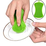 KFSO Silicone Sponge Dish Washing Kitchen Scrubber-Magic Food-Grade Antibacterial Dishes Multipurpose Better Sponges Non Stick Cleaning Mildew-Free Smart Kitchen Gadgets Brush Accessories