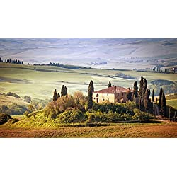 Art Silk Fabric Cloth Rolled Wall Poster Print - Italy Tuscany Summer Countryside Landscape Nature Trees Sky Green field - (Size:23x13 Inches)