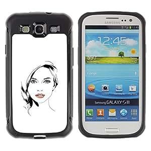 Suave TPU GEL Carcasa Funda Silicona Blando Estuche Caso de protección (para) Samsung Galaxy S3 III I9300 / CECELL Phone case / / Beautiful Woman Girl Lips White Black /