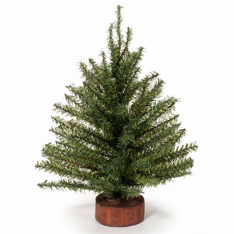 Mixed Pine Artificial Tree - Mixed Pine Tree with Wood Base - 120 Tips - 12 inches (1 pack)