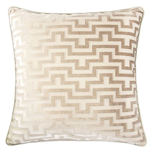 Homey Cozy Modern Maze Throw Pillow Cover,Tan Beige Luxury Velvet Soft Fuzzy Cozy Warm Slik Extra Large Sofa Couch Cushion Case 24x24, Cover Only by Homey Cozy