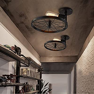 NIUYAO Country Vintage Retro Loft 12'' Single Light Pendant Chandelier Wheel Shape Industrial Semi Flush Mount Ceiling Light Lamp Fixture Hanging Lighting for Hallway Kitchen Dining Room Living Room