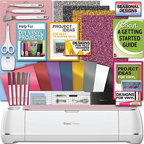 Cricut Maker Machine Bundle 1 Beginner Cricut Guide Smooth Heat Transfer Permanent Vinyl Tools Designs ()