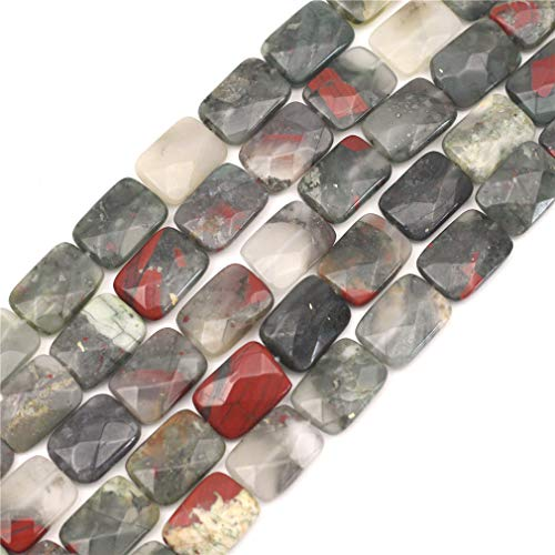 """Oameusa Agate Beads 12x16mm African Bloodstone Rectangle Agate Beads Round Beads Gemstone Beads Loose Beads Accessories Agate Beads for Jewelry Making 8"""" 1 Strand per Bag-Wholesale"""