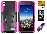 Huawei Pronto LTE H891L / G620 (Net 10, Straighttalk, Tracfone) LF 4 in 1 Bundle, Dual Layer Hybrid T Kickstand Cover Case, Stylus Pen, Screen Protector & Wiper Accessory (Stand Pink)