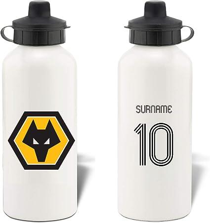 Personalised Wolves Retro Shirt Aluminium Sports Water Bottle