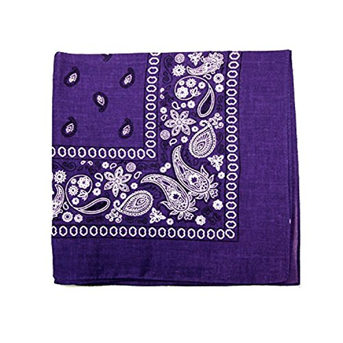 Pack of 12 Paisley 100% Cotton Bandanas Novelty Headwraps - Dozen Available in Many Colors - 22 inches (Purple)