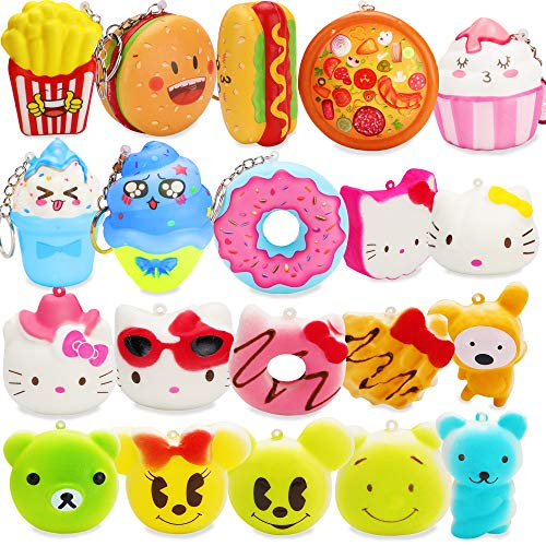 Grobro7 20 Pcs Kawaii Cute Food Squishy Toys Set, Fries, Hamburger, Pizza, ice Cream, Doughnut Slow Rising Cream Scented Squishies Stress Relief Squeeze Toys