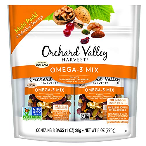 ORCHARD VALLEY HARVEST Omega-3 Mix, Non-GMO, No Artificial Ingredients, 1 oz (Pack of 8)