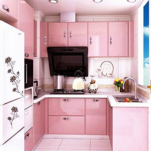 Hot ARUHE® Hochwertig Küchenschrank-Aufkleber PVC Selbstklebend Tapeten Rollen für Möbel/Küche/Badezimmer 0.61 * 5M Aufkleber Folie Möbel/Schrank Tür Papier für Wandplakate,Rosa
