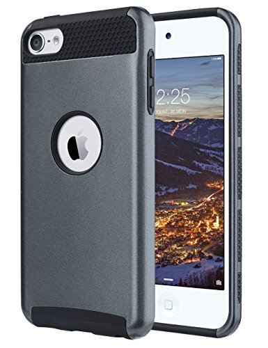 ULAK iPod Touch 6 Case,iPod 6 Cases,6th case, Dual Layer Slim Protective Hybrid iPod Touch Case Hard PC Cover for Apple iPod touch 5 6th Generation (Gunmetal (Ipod Touch Metal)