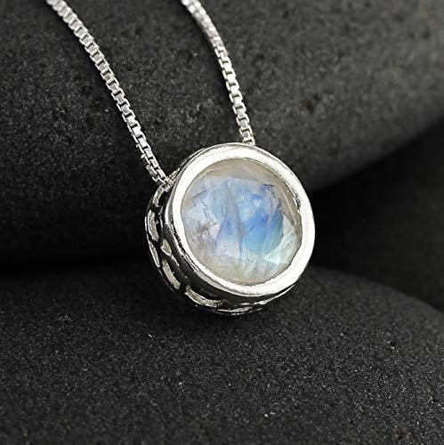 - Moonstone Solitaire Gemstone Necklace